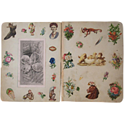 1880s 3 Victorian Scrapbook Pages Monkeys Chicks HorseFlowers Diecuts Die Cuts and More