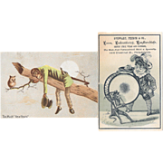 2 Monkey Victorian Trade Cards New Year's and Musician
