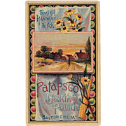 Patapsco Baking Powder Victorian Trade Card Baltimore, Maryland Chromolithograph Cottage Scene