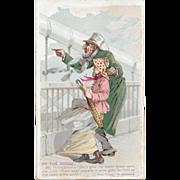 1880s Snapshots From Puck Tobacco Card Duke's Honest Long Cut On the Bridge Snap Shots