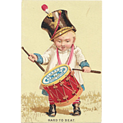Clark's Little Drummer Boy Victorian Trade Card ONT Spool Cotton Thread Hard to Beat O.N.T.