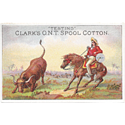 Clark's Cowboy Roping Steer Victorian Trade Card ONT Thread Testing