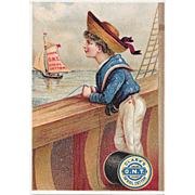 Clark's Sailor Boy and Sailboat Victorian Trade Card ONT Spool Cotton Thread