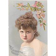 Willimantic Thread Pouty Girl Victorian Advertising Trade Card Chromolithograph