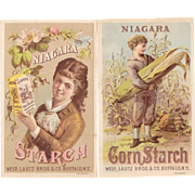 2 Niagara Starch Victorian Advertising Trade Cards Boy and Girl Ear of Corn Wesp, Lautz Bros & Co, Buffalo, NY