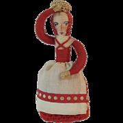 Hand Made Ethnic Doll Crochet Skirt and Spun Cotton Basket on Head