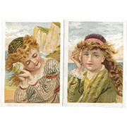 2 Atlantic & Pacific Tea Victorian Trade Cards Children Listening to Sea Shells Seashells at the Seashore Beach A&P Co