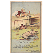 1880s Arbuckle's Coffee One Consolation Pig Trade Card # 47 from Texas Siftings Series Victorian Era