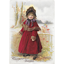 1887 Willimantic Sewing Thread Victorian Trade Card Little Girl in Red Fur Trimmed Coat