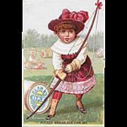 Clark's Archery Girl Victorian Trade Card ONT Spool Cotton Thread Please Break Dis for Me O.N.T.