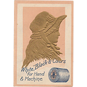 J & P Coats Gold Silhouette Victorian Embossed Trade Card White Black and Colors Sewing Thread for Hand & Machine