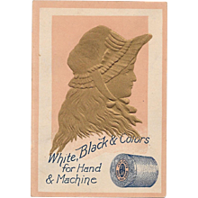 J & P Coats Gold Silhouette Victorian Embossed Trade Card White Black and Colors Sewing Thread for Hand & Machine - Red Tag Sale Item