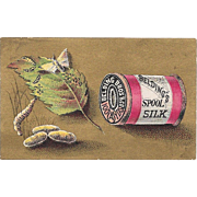 Belding's Spool Silk Victorian Trade Card with Silkworm and Spool Sewing Thread Advertising