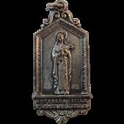 St Theresa Little Flower of Jesus Religious Catholic Saint Silver Plate Medal Pendant