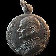 Pope Paul VI Religious Medal Silver Plate Pendant Paulus VI Pont. Maximus Catholic Italy Italian