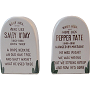 Western Grave Marker Headstone Salt and Pepper Shakers Boot Hill Salty O'Day and Pepper Tate Vintage Tableware