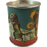 Barone Tin Litho Circus Dogs Noisemaker Lithograph Made in USA