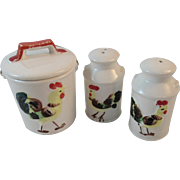Rooster Salt and Pepper and Jam Condiment Set Milk Can Shape Japan