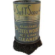 Tin Litho Saf-T-Scour Adjustable Steel Wool Pot and Pan Cleaner Vintage Kitchen