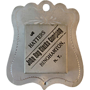 Victorian Hatters Match Safe Holder Binghamton, NY Antique Advertising - Red Tag Sale Item