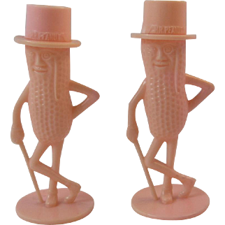Pink Planters Mr. Peanut Salt and Pepper Shakers