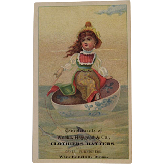 Girl in Teacup with Shark Victorian Advertising Trade Card Tea Cup