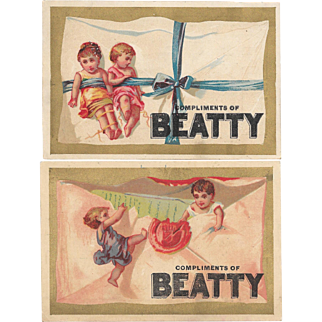2 Beatty Organs Envelope Baby Victorian Trade Cards Beatty's Beethoven Organ