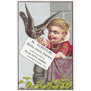1881 Child With Pet Bird Victorian Trade Card R Siedle Pittsburgh, PA Jeweler Litho by F A Chapman Series
