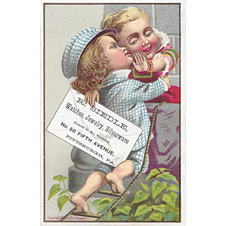 1881 Boy Climbing Ladder Victorian Trade Card R Siedle Pittsburgh, PA Jeweler Litho by F A Chapman Series