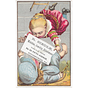1881 Kids Falling off Ladder Victorian Trade Card R Siedle Pittsburgh, PA Jeweler Litho by F A Chapman Series