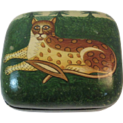 Hand Made Cat Box Lacquered Paper Mache Papier