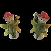 2 Bisque Flower Pixies Fairies