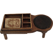 Dollhouse Miniature Wood Coffee Table with Book and Leather Seat
