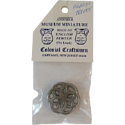 English Pewter Miniature Hearth Trivet by Colonial Craftsmen for Dollhouse in Original Package