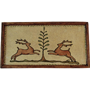 Dollhouse Miniature Watercolor Painting of 2 Reindeer and a Tree Folk Art