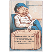 Bowker's Odeur Du Bois Perfume Victorian Trade Card Boston Druggist