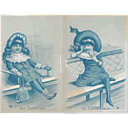 The Excursionist and Out Shopping Victorian Trade Cards for Shoneman Brothers of Philadelphia On a Boat and in a Train Station