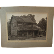Log Cabin Cabinet Card Photo Photograph
