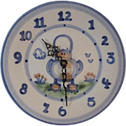 MA Hadley Pottery Duck Kitchen Clock Country Farm Animal