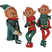 3 Japan Knee Hugger Poseable Elves Elf Vintage Christmas Ornaments