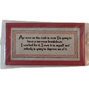 Dollhouse Miniature Motto Print in Original Package - Never Opened