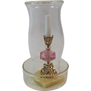 Judy Berman Chrysnbon Dollhouse Miniature Candlestick with Hurricane Globe