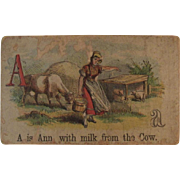 Victorian Alphabet Litho Name Block A is for Ann Wood with Chromolithograph Scene