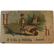 Victorian Alphabet Litho Name Block H is for Harry Wood with Chromolithograph Scene