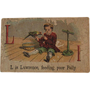 Victorian Alphabet Litho Name Block L is for Lawrence with Polly Parrot Wood with Chromolithograph Scene
