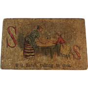Victorian Alphabet Litho Name Block S is for Sarah with Chromolithograph Scene