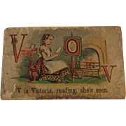 Victorian Alphabet Litho Name Block V is for Victoria with Chromolithograph Scene
