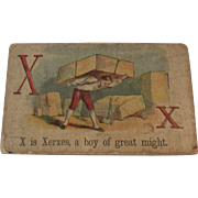 Victorian Alphabet Litho Name Block X is for Xerxes with Chromolithograph Scene