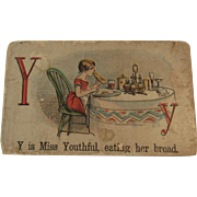 Victorian Alphabet Litho Name Block Y is for Miss Youthful with Chromolithograph Scene