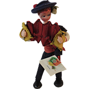 Maria Helena Doll Playing Accordion Portugal Wool and Cloth